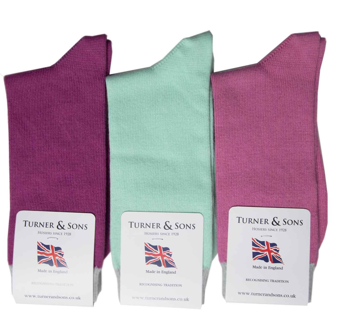 Turner-and-Sons-Ladies-Cotton-Plain-Socks-Pastel