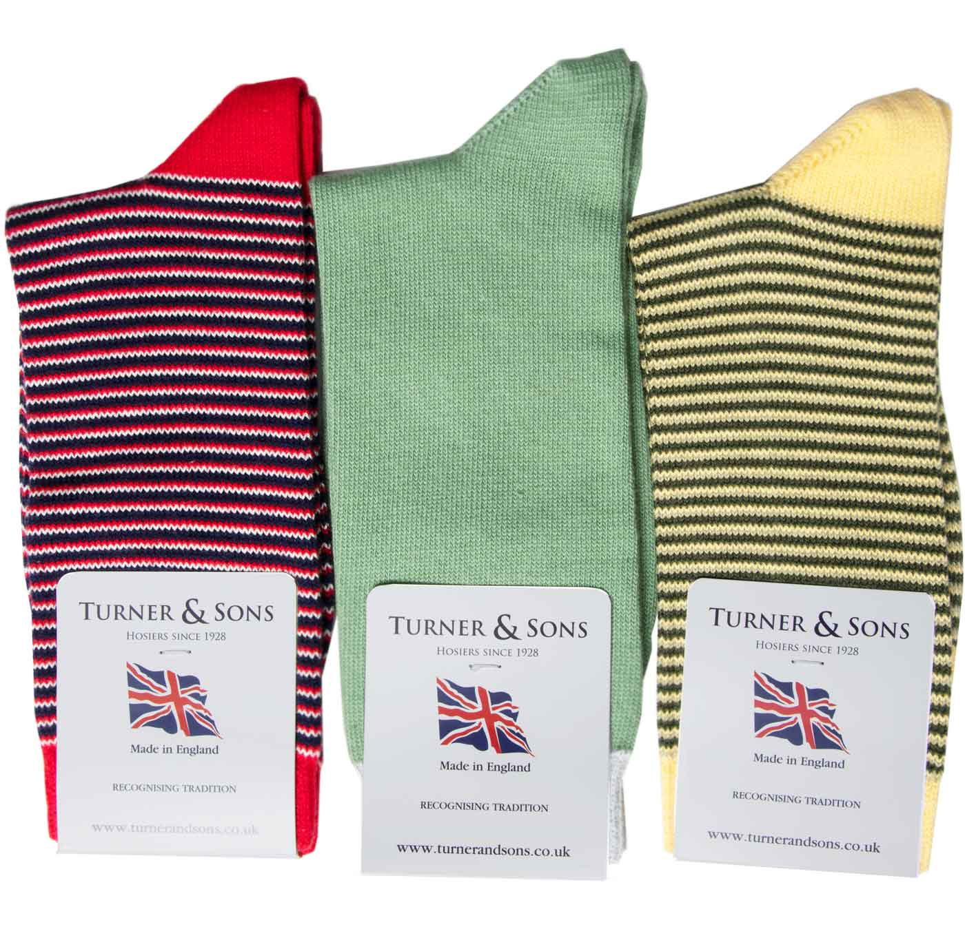Turner-and-Sons-Ladies-Cotton-Stripes-Socks-Red-Yellow