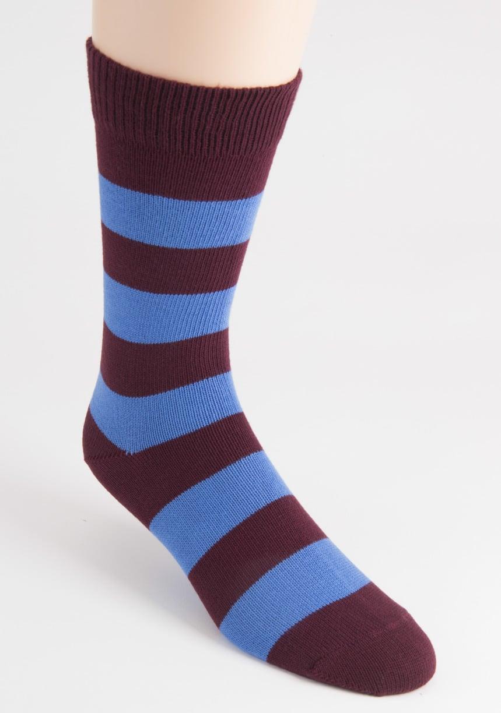 mens two cotton stripe burgundy socks