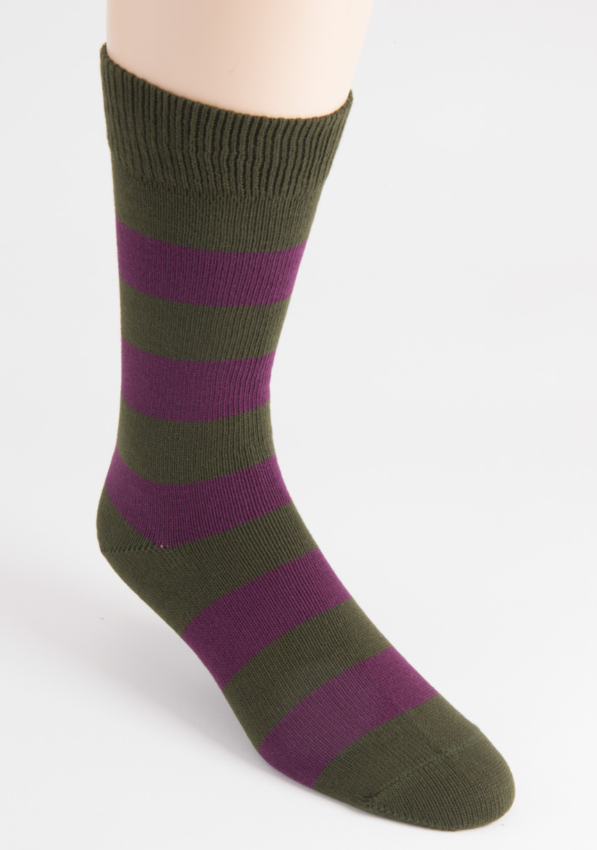 mens two cotton stripe khaki socks
