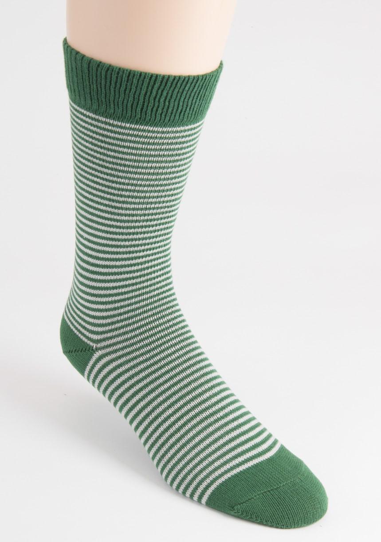 mens fine stripe cotton green socks