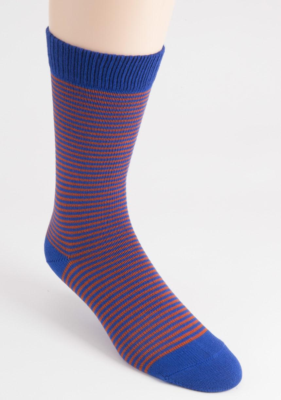 mens fine stripe cotton blue socks